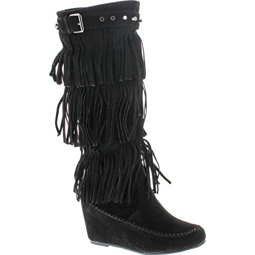 Nature Breeze Womens Bridget-02Hi Suede Fringe Studded Moccasin Knee High Wedge Boot,Black,10