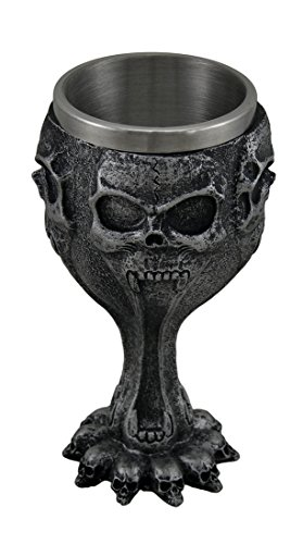 Stainless Steel Goblets Silent Screaming Skull Face Metallic Black Drinking Goblet 3.25 X 6.5 X 3.25 Inches Black (Skull Chalice)