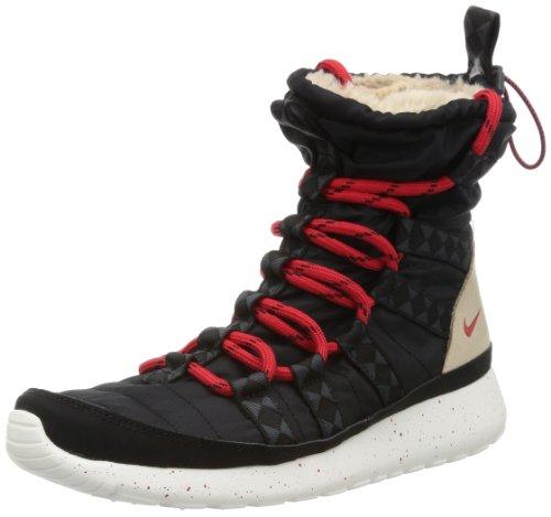 Nike Women's Roshe Run High SneakerBoot Print - Black / University Red-Sail-Linen, 8 B US (Nike Roshe Run Siren Red For Sale)