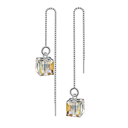 (925 Sterling Silver Crystals Colorful Cube Long Tassel Threader Dangle Drop Earrings Cubic-Zirconia)