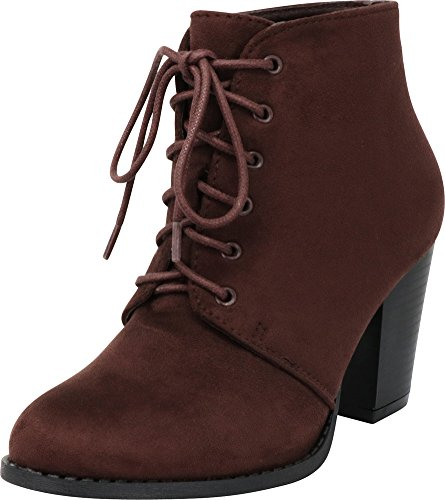 Cambridge Select Women's Closed Round Toe Lace-Up Chunky Stacked Block Heel Ankle Bootie,10 B(M) US,Brown IMSU