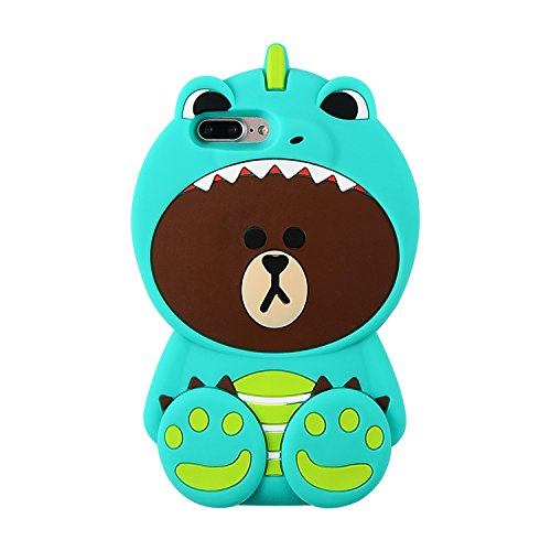 Green Dinosaur Bear iPhone 8 Plus Case,iPhone 7 Plus Silicone 3D Cartoon Animal Cover,Kids Girls Cute Gift,Kawaii Fun Soft Rubber Unique Character Fashion Cool Lovely Protector iPhone7/8 Plus + 5.5