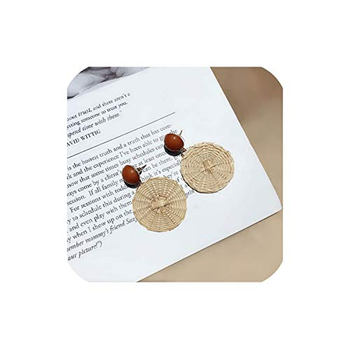 Korea Handmade Acrylic Stone Big Hollow Out Round Circle Rattan Straw Weave Long Drop Earrings For Girl,F