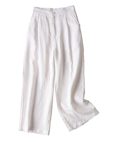 Aeneontrue Women's 100% Linen Wide Leg Pants Capri Trousers Back with Elastic Waist White XX-Large