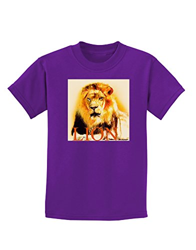 tooloud-lion-watercolor-4-text-childrens-dark-t-shirt-purple-xl