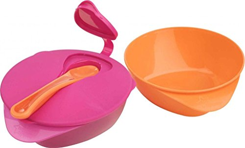 Tommee Tippee Explora Easy Scoop Feeding Bowls with Lid and Spoon 2-Pack - Orange/Pink