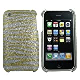 Apple iPhone 3G / 3GS Single/1 Piece Glitter Zebra Design GOLD Hard Case/Cover/Faceplate/Snap On/Housing/Protector