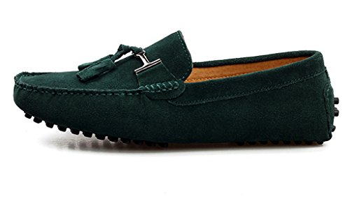 SUNROLAN Mens Casual Suede Leather Tassel Slip-On Loafers Outdoor Low Boat Shoes Driving Car Moccasins Green h3qKGoFP1