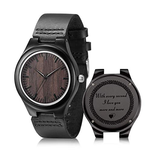 Engraved Wooden Watches for Boyfriend Husband, Personalized Ebony Wood Watch for Birthday Anniversary Gift