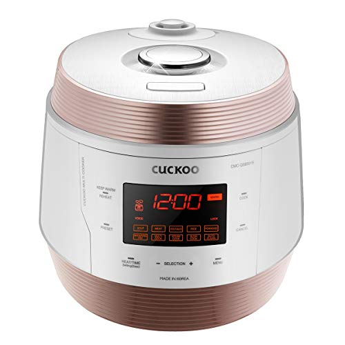 Cuckoo CMC-QSB501S, Q5 Premium 8 in 1 Multi (Pressure, Slow, Rice Cooker, Browning Fry, Steamer, Warmer, Yogurt, Soup Maker) Stainless Steel, Mad, Medium, GOLD/WHITE (Best Soup Maker Machine Reviews)