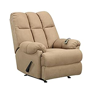 Plush cream recliner with remote