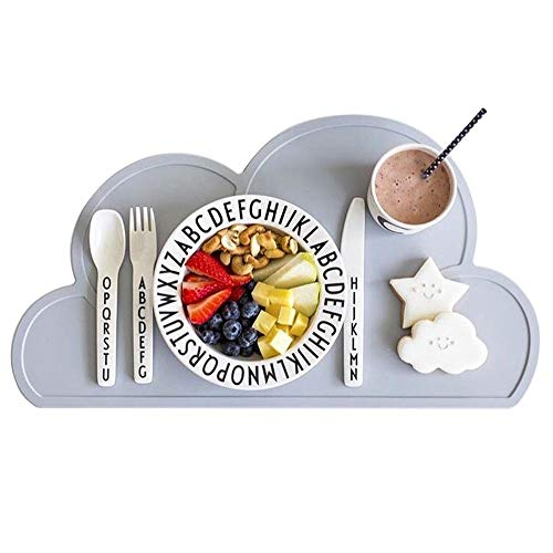 Kids Placemat - Eating On The Cloud, Silicone Placemat Waterproof Baby Placemat,...