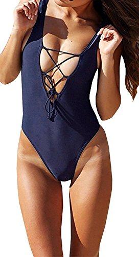 Zero City Women's Monikini Swimsuit One Piece, Sexy Cute Bathing Suits Lace-up U Back, Large, Navy ()