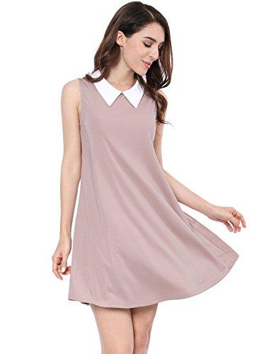 Allegra K Women's Sleeveless Trapeze Dresses Peter Pan Collar Swing Tank Dress Pink Small (Peter Pan Dress For Women)