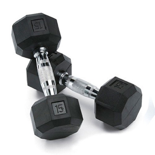 SPRI Deluxe Rubber Dumbbells (Sold as set of 2) (15-Pound)