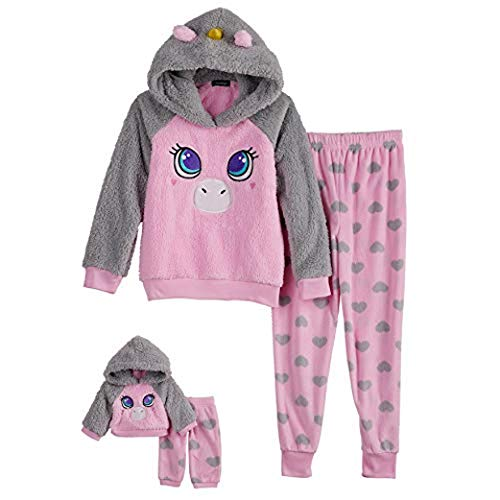 Cuddl Duds Girls Plush Animal Pajama Sleep Set Hooded Top Pants with Matching Doll Set, Unicorn, S 6/6X
