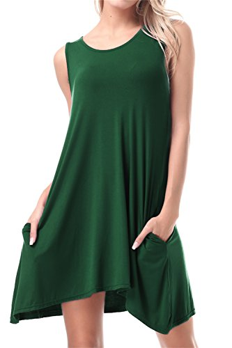 FISOUL Women Tops O-Neck Sleeveless Dress With Double Pockets Loose Bottoming Shirt Green M by FISOUL (Image #5)