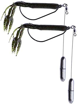 Real Fish Big Shot Punch Delta Drop Shot Rig Kit Bass Fishing Like Tokyo Punching Tungsten Weights with Weedless 4//0 Heavy Duty Hook Thick Mats Braided Line
