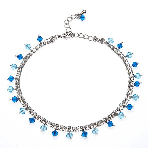 2-Strand Ocean Blue Faceted Crystal Cubic Zirconia CZ Rhodium Plated Brass Anklet - Cluster Anklet