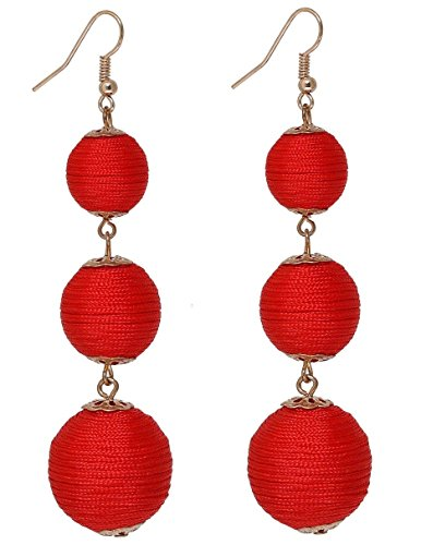 Ghome Thread Ball Dangle Earrings,Drop Earrings Wrapped Triple Balls Beaded Ball Ear Drop Charm Jewelry for Women Girls (04:Red ball) -