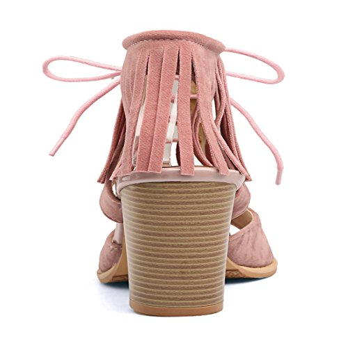 YE Damen Süß High Heels Plateau Sandalen Blockabsatz mit Schnürung und Fransen Bequem 10cm Absatz Sommer Schuhe Rosa