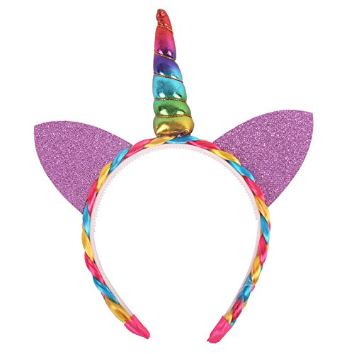 Jaasie My Little Pony Deluxe Unicorn Headband for Birthday Party (Rainbow with Ears - B) (My Little Pony Flip & Whirl Rainbow Dash)