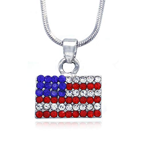 Soulbreezecollection 4th of July Independence Day American USA US Flag Star Necklace Pendant Charm (Flag)