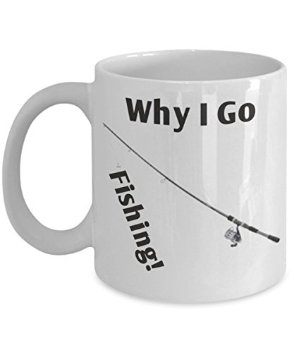 Why I Go Fishing Gift - Fishing - More Than Just A Hobby - Ceramic Original Gift Card - Why I Go Fishing White Coffee - Sunglass Locations World