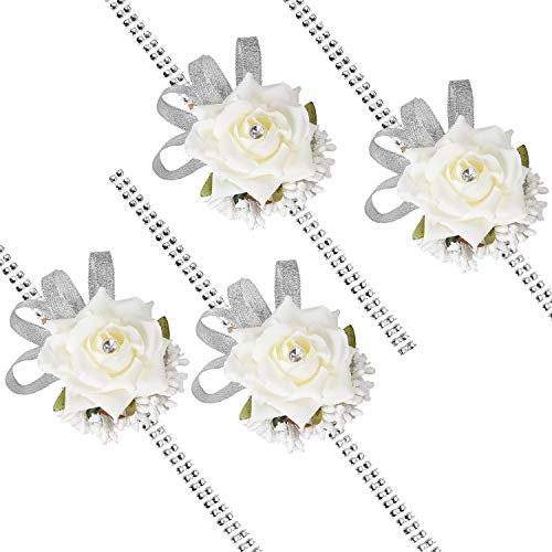DearHouse 4Pcs Rose Wrist Corsage Wristband, Girl Bridesmaid Wedding Wrist Corsage Party Prom Hand Flower Decor ()