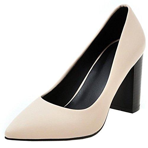 Heel Slip TAOFFEN Toe Block High Shoes Court Women Pointed Beige Fashion On pYYEwAq1