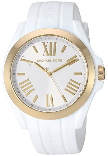 Michael Kors Watches Womens Bradshaw Gold-Tone and White Silicone Watch