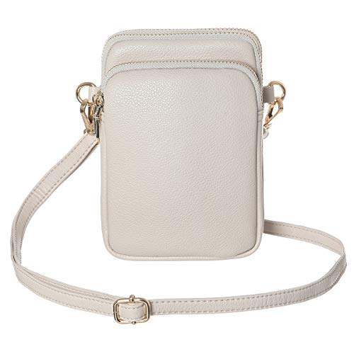 HAIDEXI Lightweight Nylon Small Purses and PU leather Small Crossbody bag Cell Phone Purses Wallet for Women (Leather-Grey) ()