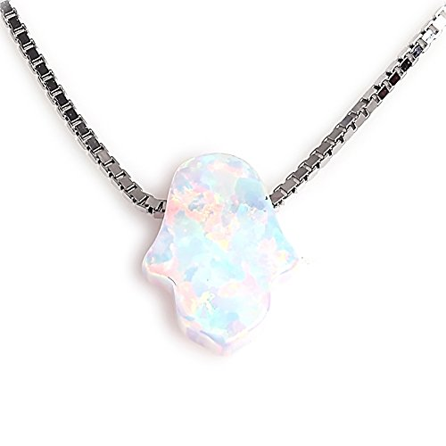 Kaletine Hamsa Hand of Fatima Necklace Sterling Silver White Synthetic Opal Pendant 8x10mm Box Chain 16