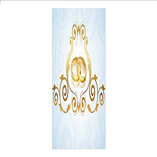 Ylljy00 Decorative Privacy Window Film/Vintage Style Victorian Ornaments on Blue Backdrop Rings Classical/No-Glue Self Static Cling for Home Bedroom Bathroom Kitchen Office Decor Light Blue Gold