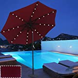 ABCCANOPY 9 FT Solar Powered Patio Umbrella 32LED Lights Solar Umbrella with Tilt and Crank, Wine Red
