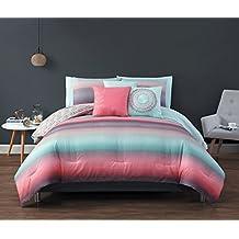 Geneva Home Fashion Cypress 10-Piece Comforter Set, Queen, Coral/Blue