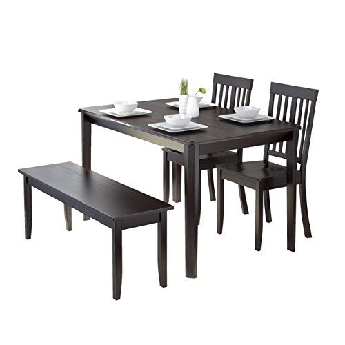 CorLiving 4 Piece DRG-695-Z6 Atwood Dining Set with Stained Bench and Set of Chairs, Cappuccino