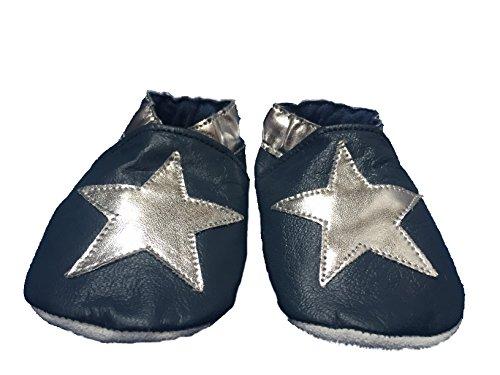 Cuero suave zapatos de bebé azul con plata estrellas, color azul, talla 18-24 meses