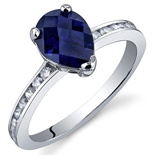 Pear Shape Setting - Created Sapphire Ring Sterling Silver Rhodium Nickel Finish Pear Shape 1.50 Carats Size 8