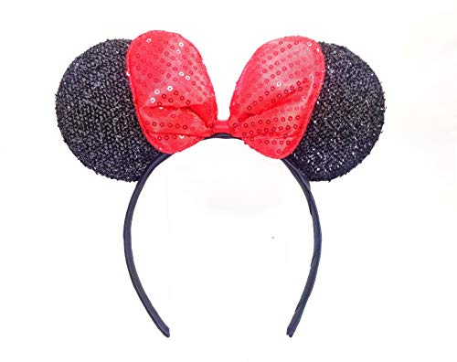 MeeTHan Minnie Mouse Ears Black Headbands: M4 (Sparking-Black)