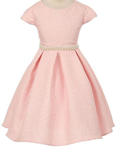 Organza Strapless A-line Skirt (Little Girls Short Sleeve Jacquard Pearl Waistline Flowers Girls Dresses Pink 4)