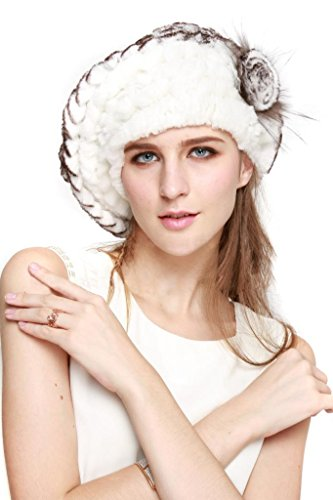 Vogueearth Women'Real Knitted Rex Rabbit Fur Winter Warmer Berets Hat White Black