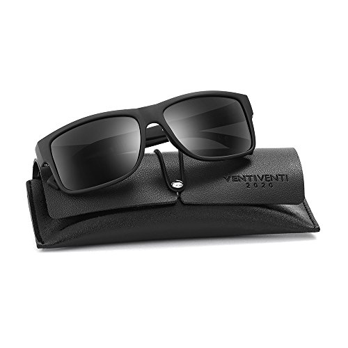 2020Ventiventi Classic Polarized Sunglasses for Men Square Lens Full Frame with Case UV400 for Driving PL268(C02 Matte - For Lenses Eyeglass Small Thick Frames