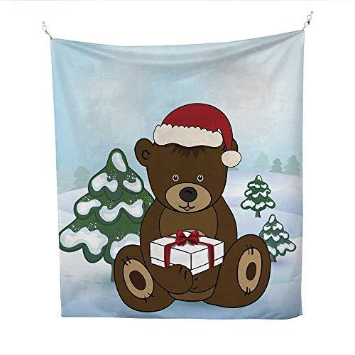 25 Home Decor Tye dye Tapestries Bear in Santa Claus Holding a Box Present Greatful Dead Tapestries 70W x 84L ()
