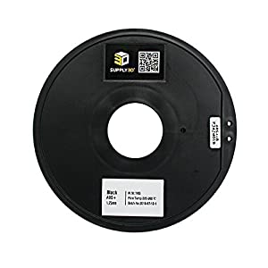 SUPPLY3D ABS+-1KG1.75-BLK, ABS Plus Black 3D Printer Filament, Dimensional Accuracy +/- 0.05 MM, 1 KG SPOOL, 1.75 MM, Black by Supply3D
