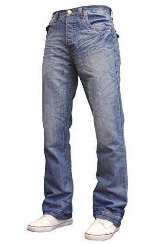 APT Mens Designer Branded Basics Regular Fit Bootcut Jeans, 28-48 (32W x 34L, Lightwash)