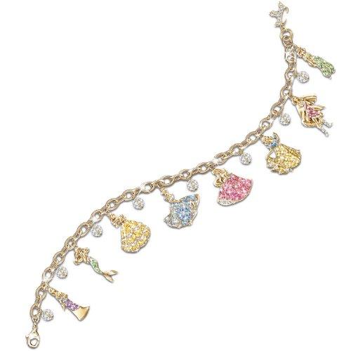 (Disney Princess 24K Gold-Plated Charm Bracelet With Swarovski Crystals by The Bradford)