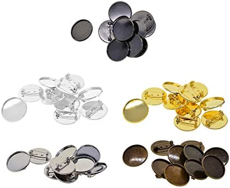 Fityle 10 Pieces Bronze Blank cabochon Brooch Base Settings 25mm Round Bezel Tray DIY brooches pin Backs for Jewelry Making findings Black