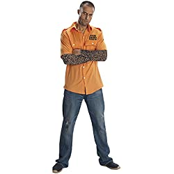 Rubie's Costume Prisoner Shirt With Tattoo Sleeves, Orange, One Size Costume