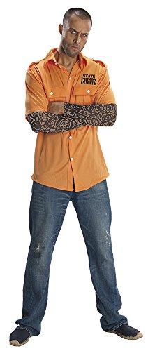 Rubie's Costume Prisoner Shirt With Tattoo Sleeves, Orange, One Size Costume (Jailbird Adult Costume)